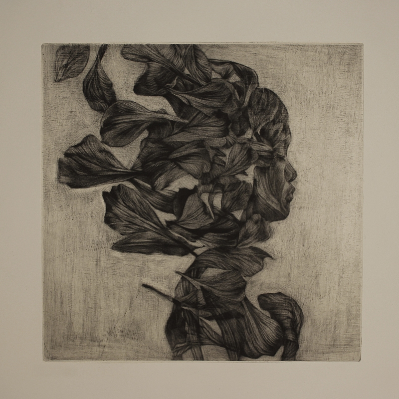 mezzotint and chine-collé | 9x9 in