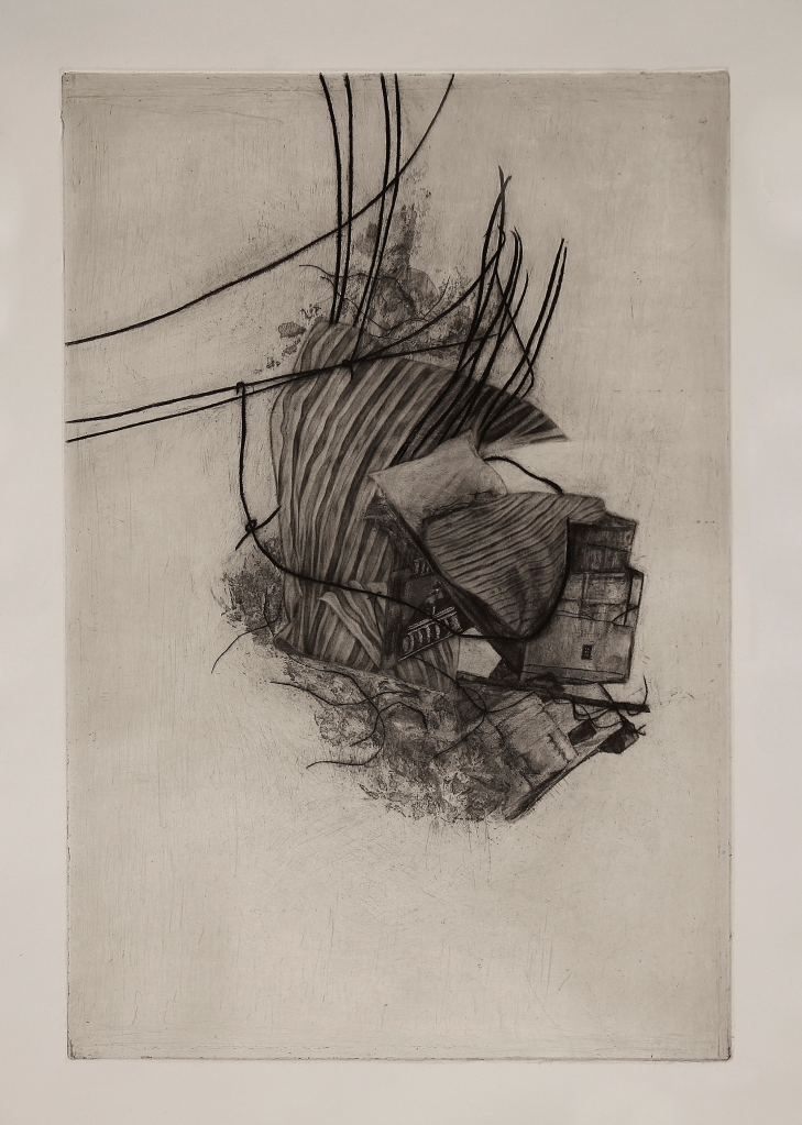 mezzotint, line etching, tonal aquatint, sugar lift, engraving, and chine-collé | 12x18 in
